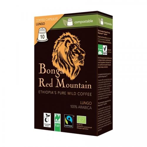 Kaffee Kapseln Lungo üBonga Red Mountain  Pack 10 Stück - Original Food