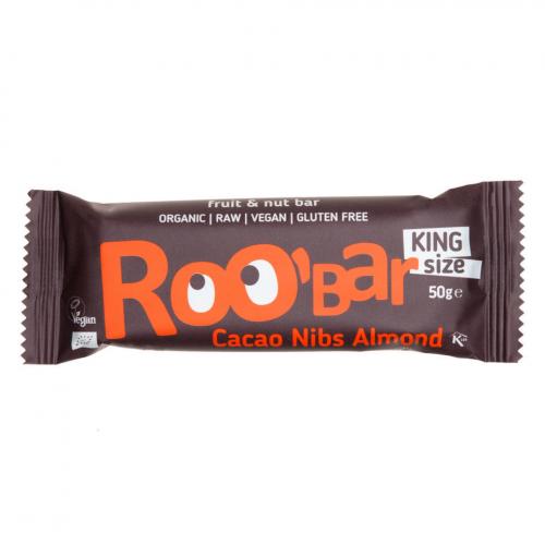 Rohkostriegel Kakao Splitter und Mandel king size Riegel 50 g - Roobar