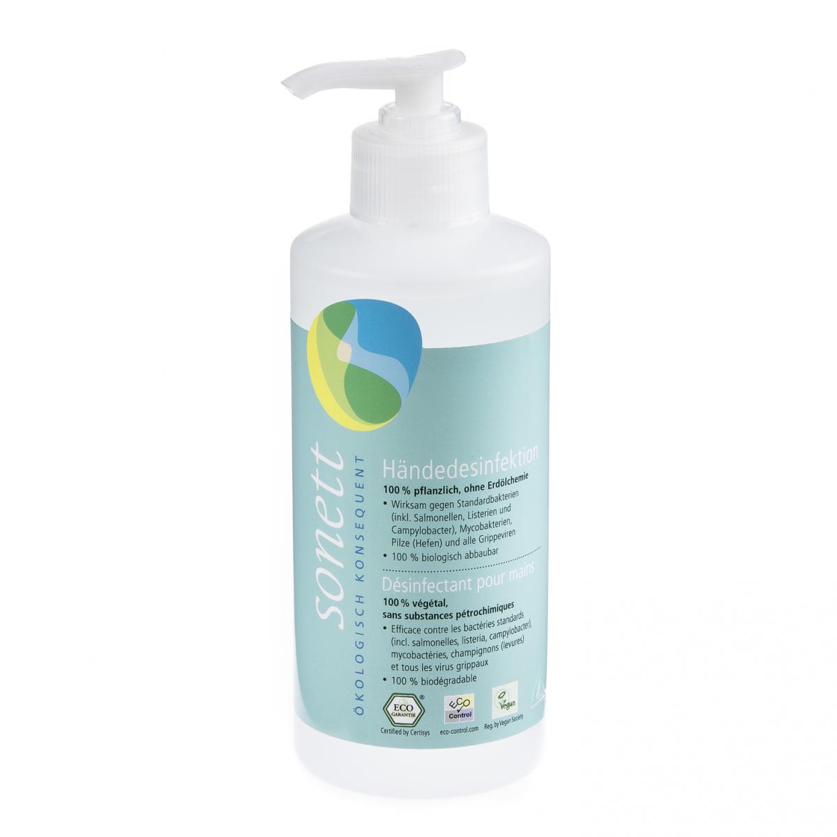 Händedesinfektion, Pumpspender Flasche 300 ml/Plastik Einweg - Sonett