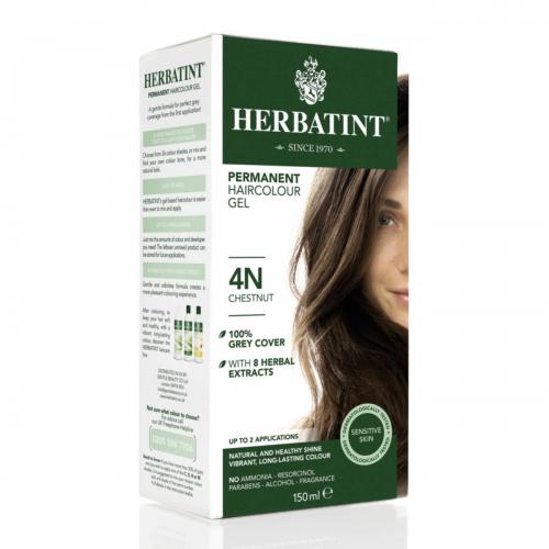 Haarfärbegel 4N Kastanienbraun Flasche 150 ml/Plastik Einweg - Herbatint
