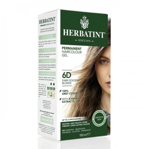 Haarfärbegel 6D Dunkles Goldblond Flasche 150 ml/Plastik Einweg - Herbatint